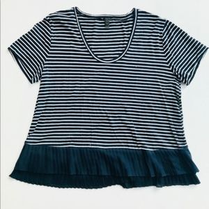 J Crew Striped Shirt with Ruffle Hem